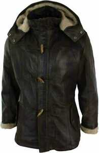 Mens Black Duffle Over Coat Trench Hooded Long Genuine Sheepskin Leather Jacket