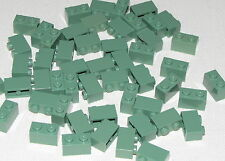 LEGO LOT OF 50 NEW SAND GREEN 1 X 2 BRICKS BLOCKS PIECES