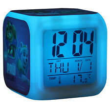 Paw Patrol Girls Kids Digital Alarm Clock Calendar 7 Colour Changing LED Pink