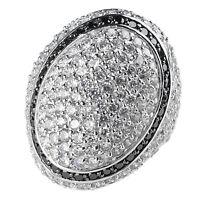 Sarah Kern Damen-Ring echt Silber 925 Sterling mit Zirkonia pavé schwarz weiß