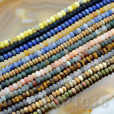 4x6mm & 5x8mm Natural Matte GemStone Rondelle Spacer Loose Beads Strand 15.5