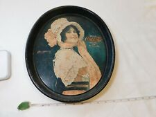 VINTAGE Coke COCA-COLA ADVERTISING METAL Oval SERVING TRAY RUSTED Betty Girl OLD
