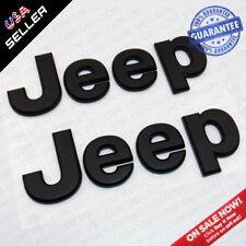 Matte Black 3D JEEP Hood Trunk Tailgate Emblem Logo Stickers Badge Set 2pcs