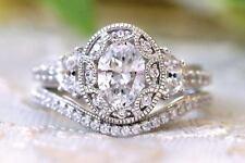 2.50 ct Vintage Art Deco Oval Diamond Engagement Anniversary Ring set 925 Silver