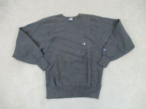 VINTAGE Champion Sweater Adult Large Gray Reverse Weave Made USA Mens 90s*