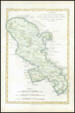 More details for 1780 antique map of isle de la martinique antilles by bonne (bmii/5)