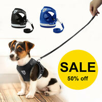 With Pull Dog Pet Harness Adjustable Control Vest Mesh Dogs Reflective Leash US