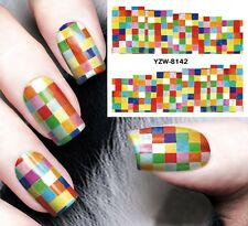 Nail Art Stickers Water Decals Transfers Milti-Color Square Gel Polish