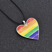 Stainless Lesbian LGBT Choker Necklace Gay Pride Rainbow Heart Shaped Pendant