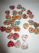 Heart shaped buttons - various designs - 30 buttons