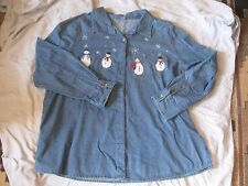 Wal-mart L/S Woven Shirt denim embroidered snowmen NWT size 3X (22-24)