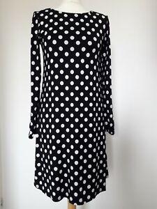 WALLIS PETITE Black White Polka Dot Tunic Dress Sz 12