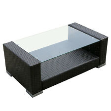 Rattan Wicker Tempered Glass Outdoor Coffee Table With Resin Rectangular Brown