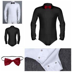 US Men Ballroom Latin Modern Dance Bowtie Shirt Waltz Costume Long Sleeve Romper