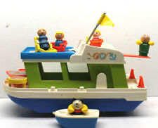Vintage Fisher Price Little People Play Family Houseboat+5 Figures+Accessories