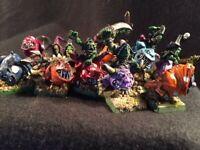 Warhammer Fantasy Night Goblin Squig Riders Herders (13) - Painted HQ Metal OOP