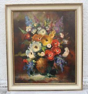 R. FABER (Stilllebenmaler 20. Jhdt.) - Üppiger bunter Blumenstrauss in Vase