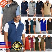 Mens Sleeveless Vest Zipper Full Zip Up Polar Fleece Hooded Hoodie Jacket Warm