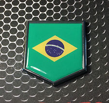 "Brasil Flag Domed CHROME Emblem Proud Flag Car 3D Sticker 2""x 2.25"" Neymar"