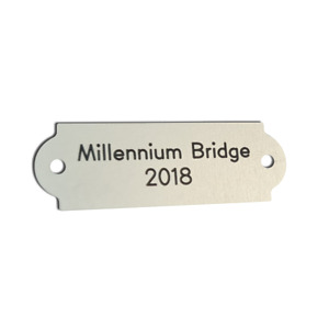 Curved End 60mm x 20mm Silver Aluminium Plaque/Name plate. Deep Mill Engraving