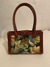 Liz Claiborne Brown Crocodile Embossed Leather Satchel Handbag Floral Purse