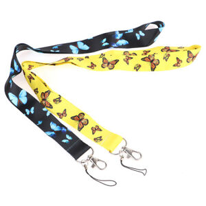 Fashion Butterfly Lanyards Keychain Ribbon Mobile Phone Hang Rope  Neck Strap HL