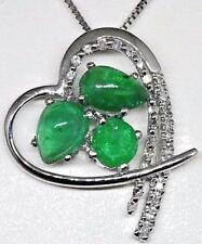 14K White Gold Diamond and Emerald Heart Pendant- No Chain.