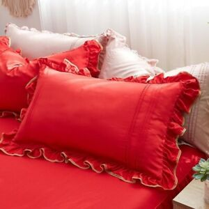 New 4 Pcs Heart Duvet Cover 100% Tencel Duvet Cover Ruffle Bedding Set Bed Skirt