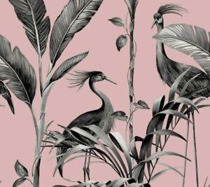 Belgravia Azzura Leaf Blush Pink Metallic Silver Tropical Birds Leaf Wallpaper