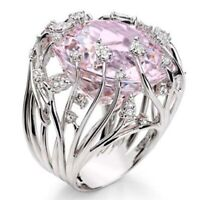 Gorgeous Women Wedding Rings 925 Silver Oval Cut Pink Sapphire Size 6-10