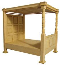 1:12 Échelle Maison de poupées meubles Plain Wood 4 Poster Bed BEF083