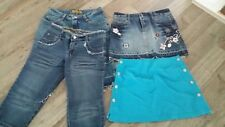 2 X SKIRT + 2 JEANS 3/4  SIZE 8-10- BRAND UNKNOWN - GOOD