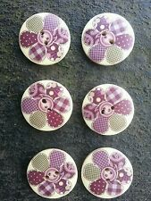 6 Patchwork Flor Púrpura Madera Botones.3 cms/30mm. Craft Coser etc.uk FREEPOST