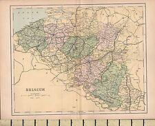 c1880 VICTORIAN MAP ~ BELGIUM ~ FLANDERS BRABANT LIEGE etc
