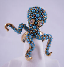 Kenneth Jay Lane Gold Turquois Dots Octopus Ring