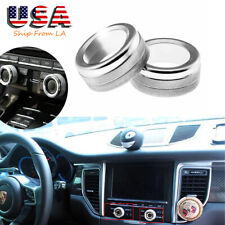 2PCS Chrome Silver Volume Radio Knob Covers For Porsche 911 Cayenne Macan 718