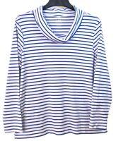 L.L. Bean Sz XL Blue Stripe Supima® Cotton Cowl Neck Knit Top Long Sleeves