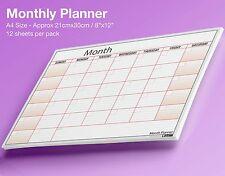 Pack of 12 x A4 Monthly Planner Desk / Wall Planner Sheets ✔Any Month, Any Year!