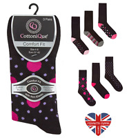 LADIES NON ELASTIC NATURAL COTTON POLKA & STRIPE SOCKS, SOFT, LOOSE TOP DIABETIC