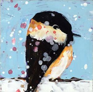 12x12 Print - Blue Snowy Chickadee Bird Animal Wall Art Print Katie Jeanne Wood