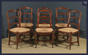 Antique French Set 6 Six Louis XV Style Cherry Wood Ladder Back Kitchen Dining
