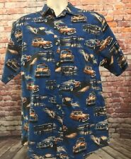 Clearwater Outfitters Mens Medium Short Sleeve Button Front Shirt Classic Cars