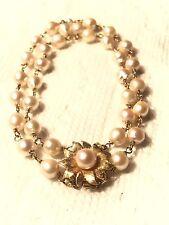 Vintage Double Row Pearl Bracelet W/ Fancy 14K Pearl Clasp