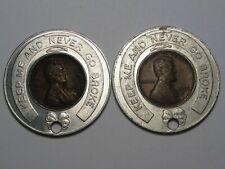 "2 Encased Coins: 1957-d Wheat Pennies ""1st State Bank East Detroit, MI"".  #213"