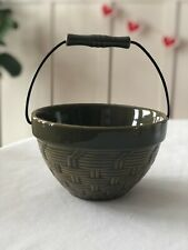 Vintage WCL Bowl Pottery Mid Century Basket Weave with Handle Rare