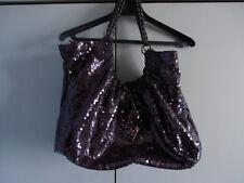 Sac cabas violet à paillettes et sequins et anses tressées