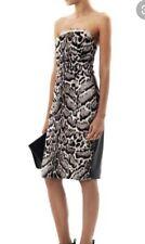 Christopher Kane Jaguar Print Goat Hair & Leather Dress UK10 US8