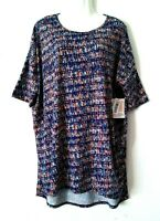 NEW WOMEN'S LULAROE IRMA NAVY BLUE MULTI-COLOR PRINT SHORT SLEEVE HI LO TOP XL