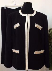Tahari/Le Suit Mismatched Women's Black Polyester 2 Piece Pant Suit Sz 20W EUC!
