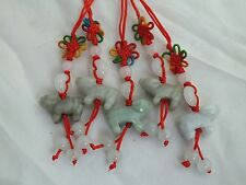 Lot of 5 Chinese Zodiac Butterfly Knot Jade Cell Phone Charm Strap Red OX